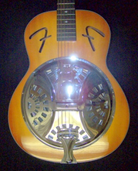 "FR-50 Resonator, Sunburst, Round Mahogany Neck, Chrome Resonator, Fender® ""F"" Holes"