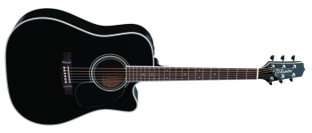 Takamine EF341SC Acoustic-Electric Guitar (with Case), Black